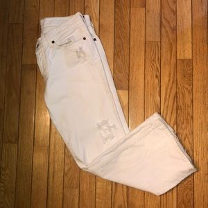 7 For All Mankind White Crop Boy Cut Jeans